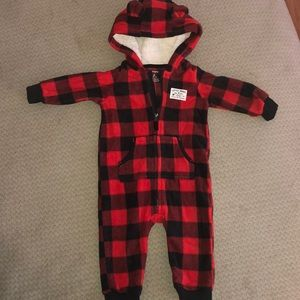 6 month one piece flannel fleece footless